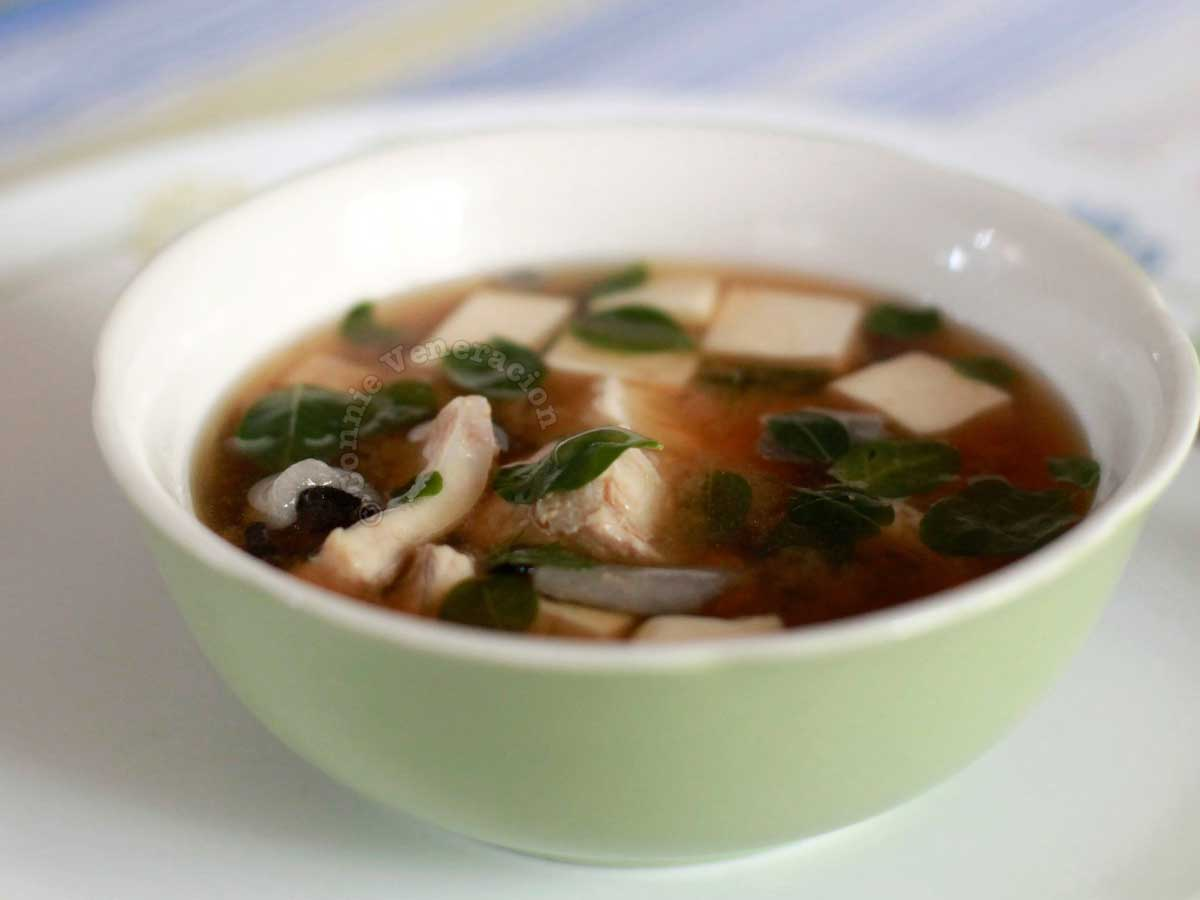 Miso Soup with Bangus (Milkfish) Belly Fillets and Malunggay (Moringa) Leaves Recipe