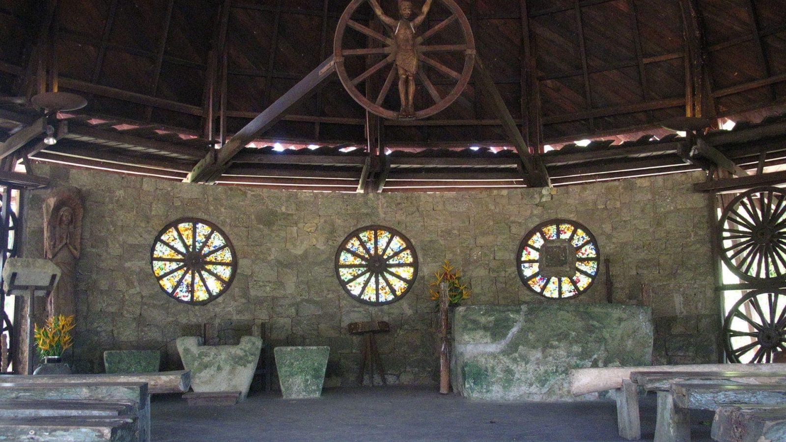 The altar of the Chapel of the Cartwheels at Hacienda Rosalia