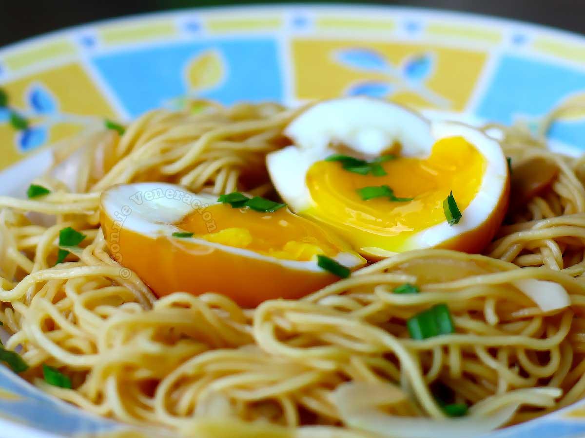Soy sauce (shoyu) eggs over noodles
