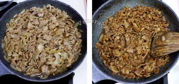 Simmering beef in pan