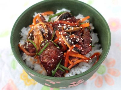 Mongolian beef barbecue served over rice