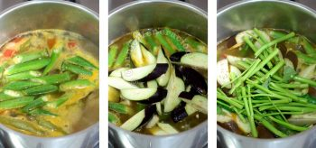 Adding vegetables to pot to cook sinigang