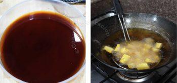 Frying sweet potatoes in wok