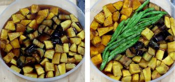Soaking sweet potatoes, eggplants and green beans in agebitashi sauce