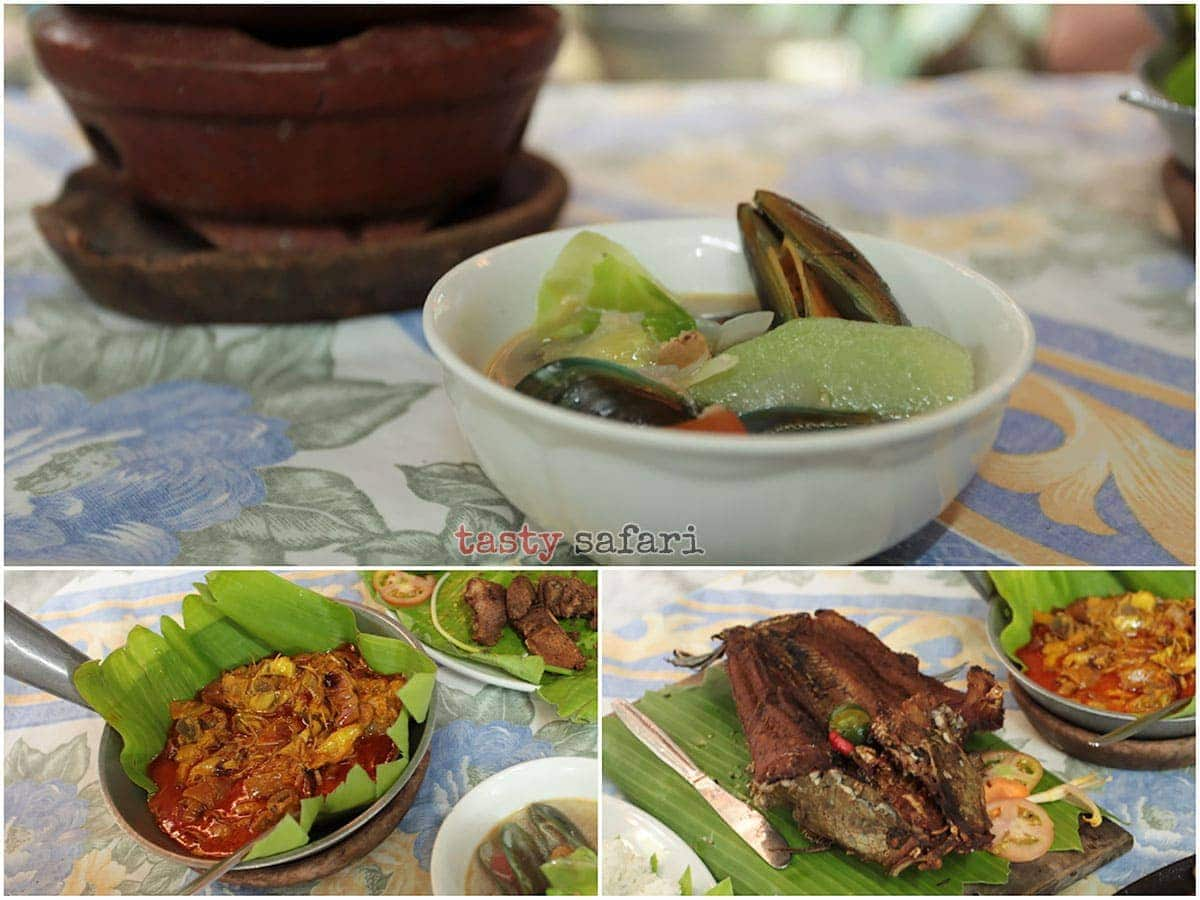 Mussel soup, banana heart and fried dalag (mudfish) at Balaw-balaw Restaurant
