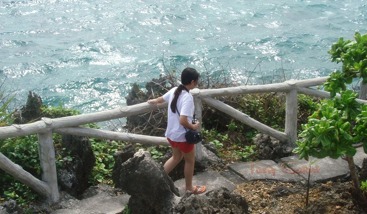 My younger daughter, Alex, on the way to the caves of Crystal Cove, Boracay