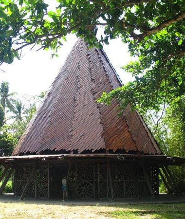 The salakot-shaped roof of the Chapel of the Cartwheels at Hacienda Rosalia