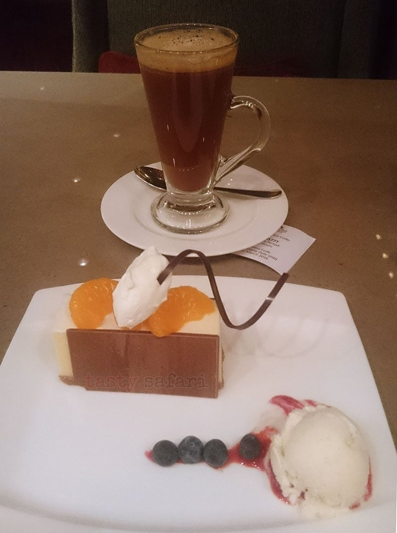 Cake and alcohol-spiked coffee, Lobby Lounge, Marco Polo Hotel, Hong Kong