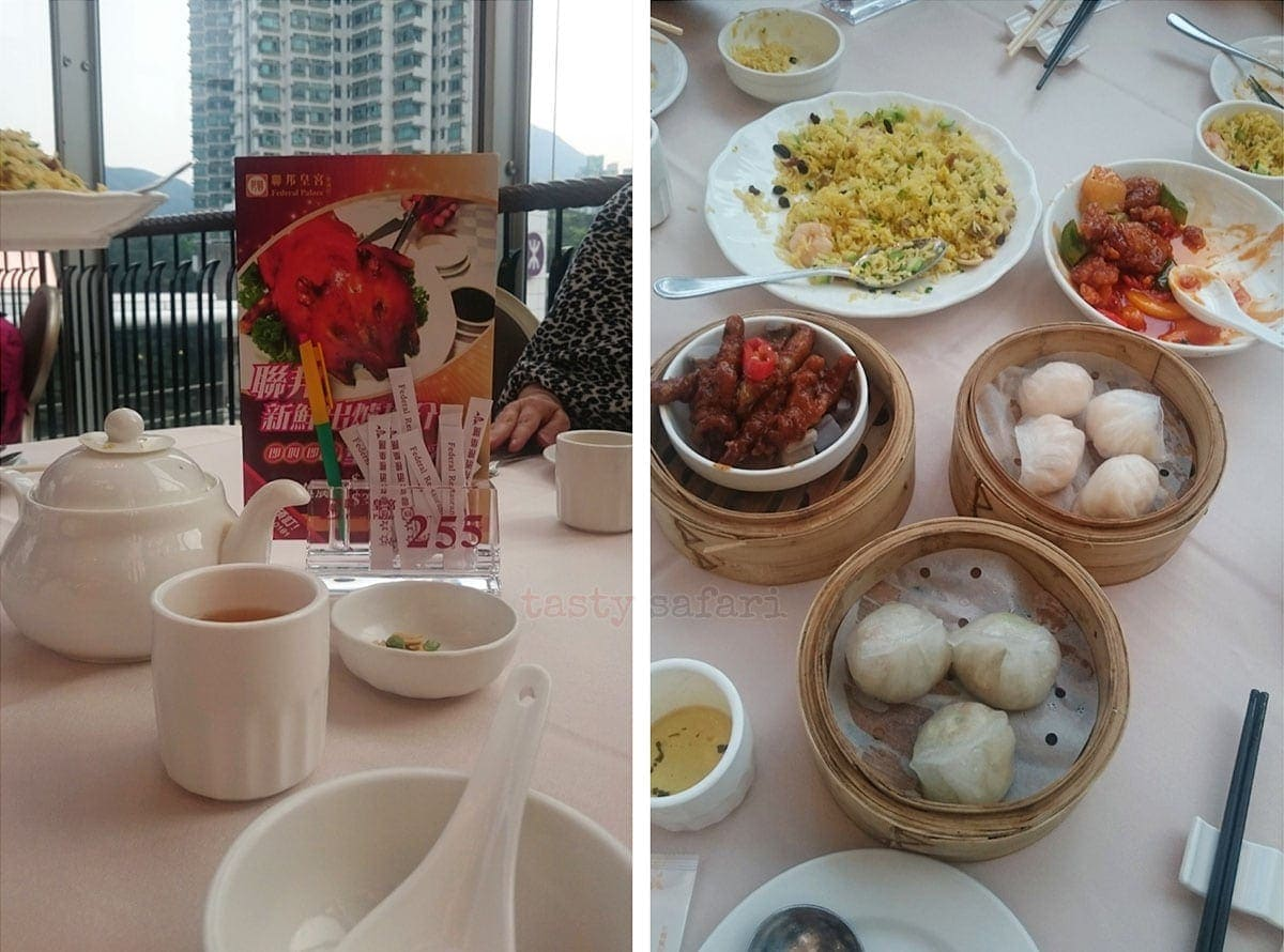 Dumplings, chicken feet, sweet and sour pork, and fried rice at Federal Palace, Citygate Outlets, Hong Kong