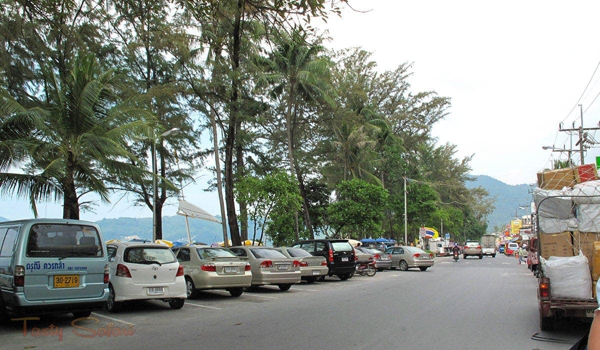 Street separating Patong Beach from the hotels and restaurants