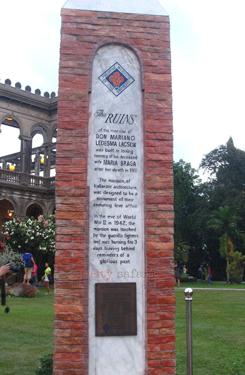 Commemorative Marker of The Ruins, Talisay City, Negros Occidental