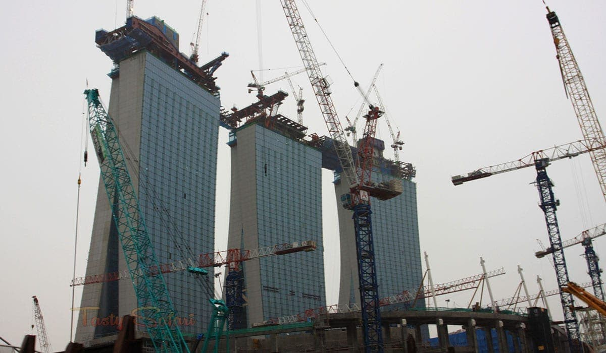 Marina Bay Sands, an integrated resort and casino, under construction in Singapore