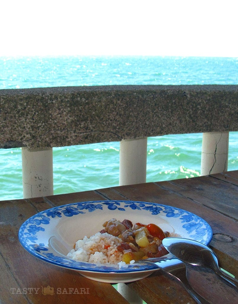 Callos for lunch on the wharf in a mangrove in Cadiz City