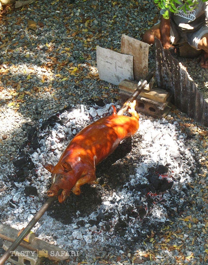 Roasting a whole pig in the backyard of the hacienda, Cadiz City