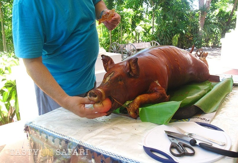 Lechon for lunch at the hacienda, Cadiz City