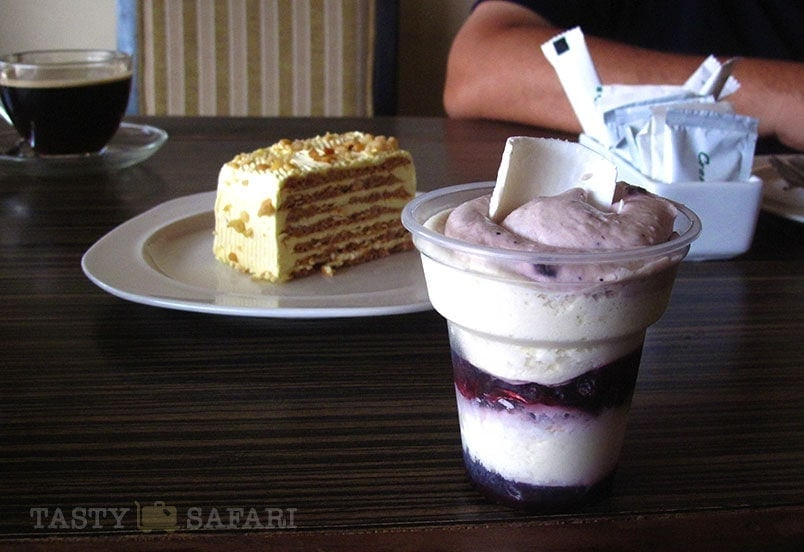 Blueberry parfait and sans rival at Felicia's, Bacolod City
