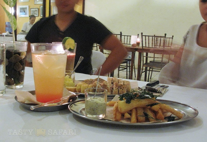 Bacolod sunrise (a take on tequila sunrise) and kamote fries. Negros Museum Cafe, Bacolod City