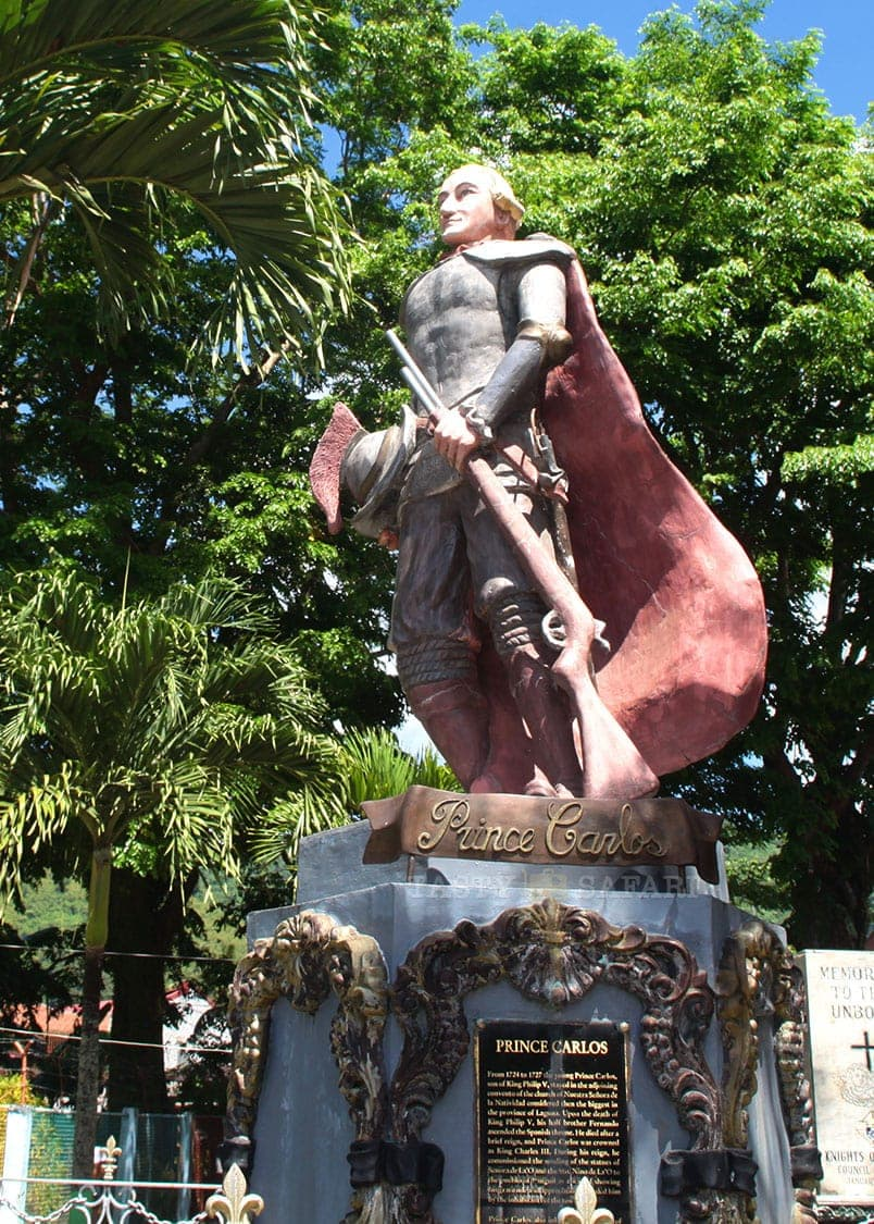 Statue of Spain's Prince Carlos at the Pangil town plaza