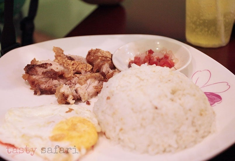 Bagnet (deep fried pork belly, Ilocan version), egg and rice