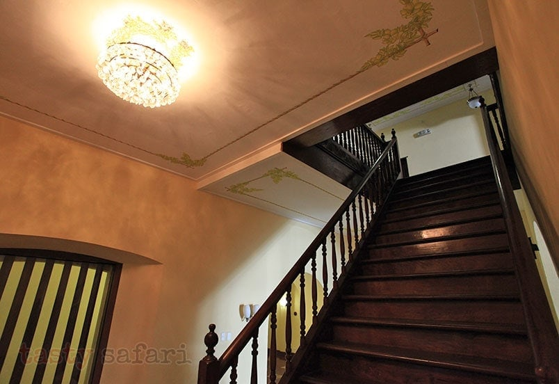 The beautiful solid wood stairs at Hotel Salcedo de Vigan