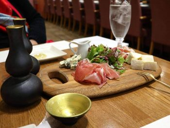 Appetizer and sake at Chibo, Jo-Terrace, Osaka Castle