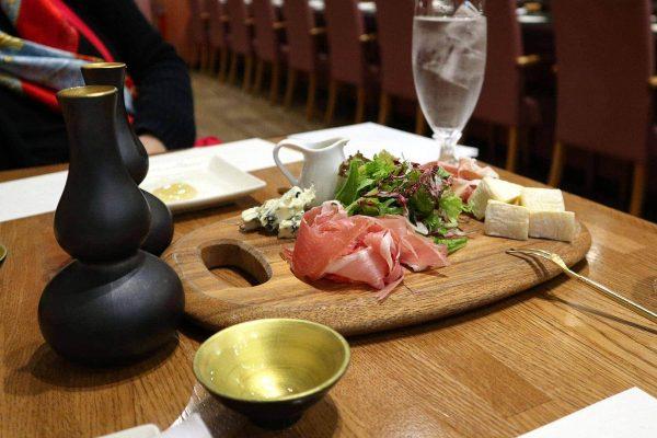 Appetizer and sake at Chibo, Jo-Terrace, Osaka Castle