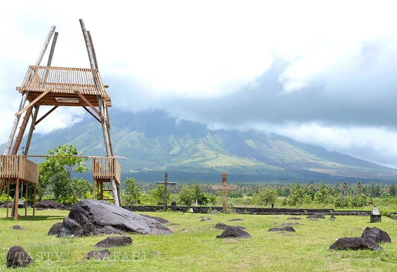 Cagsawa Ruins in Albay: volcanic rocks embedded in the soil