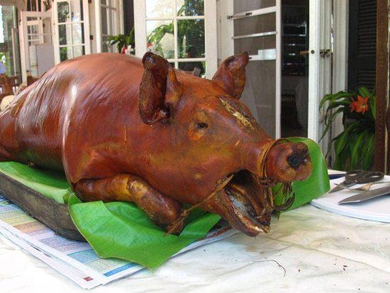 Backyard-roasted lechon at the hacienda of a sugar plantation in Cadiz City, Negros Occidental