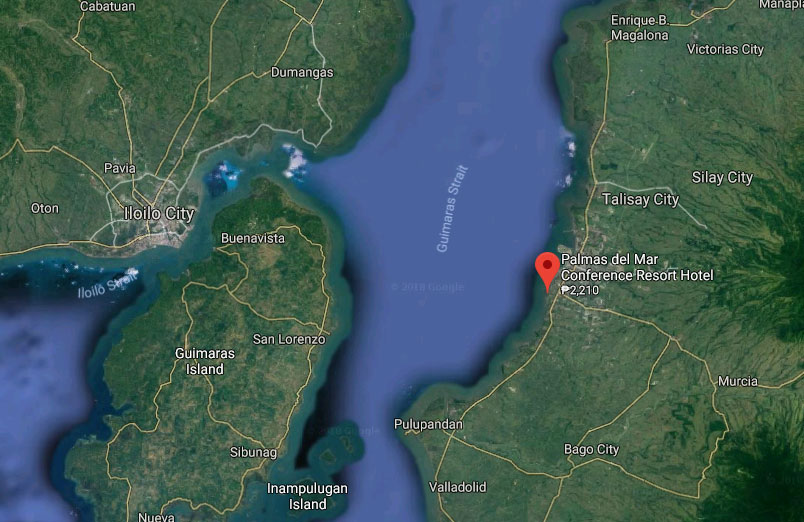 On the map, Palmas del Mar in relation to Guimaras and Iloilo
