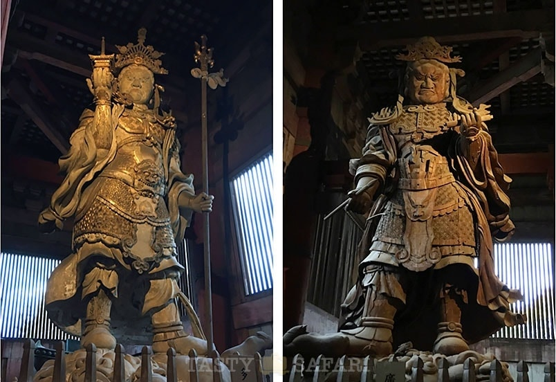 Statues of Tamonten, Guardian of the North (left) and Komokuten, Guardian of the West (right) in The Great Buddha Hall, Todaiji Temple, Nara
