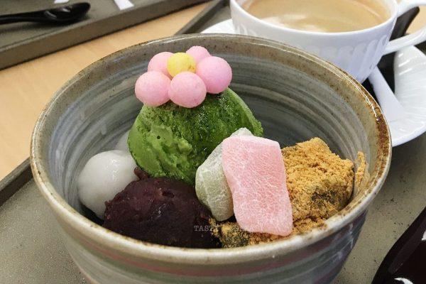 Mochi and ice cream. Kaoh. Nara, Japan