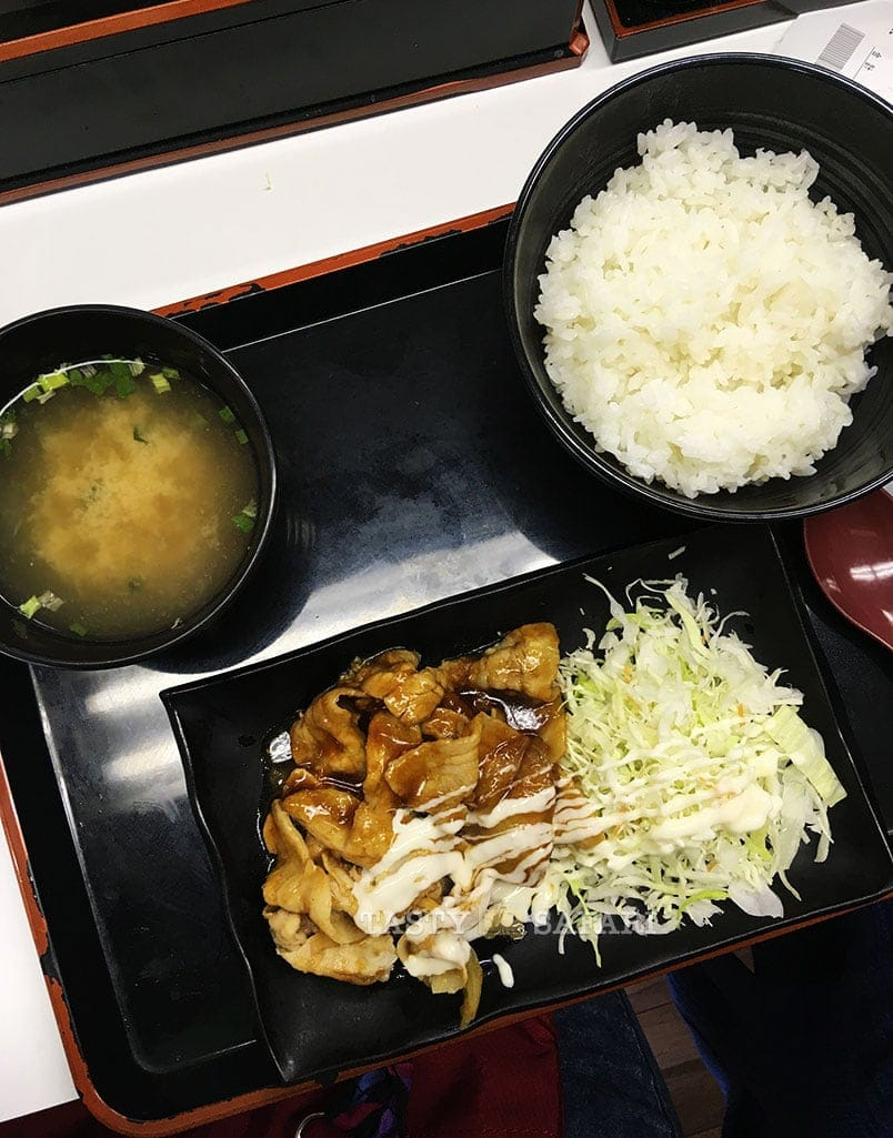 Soup, rice, salad and meat at Yashinoya
