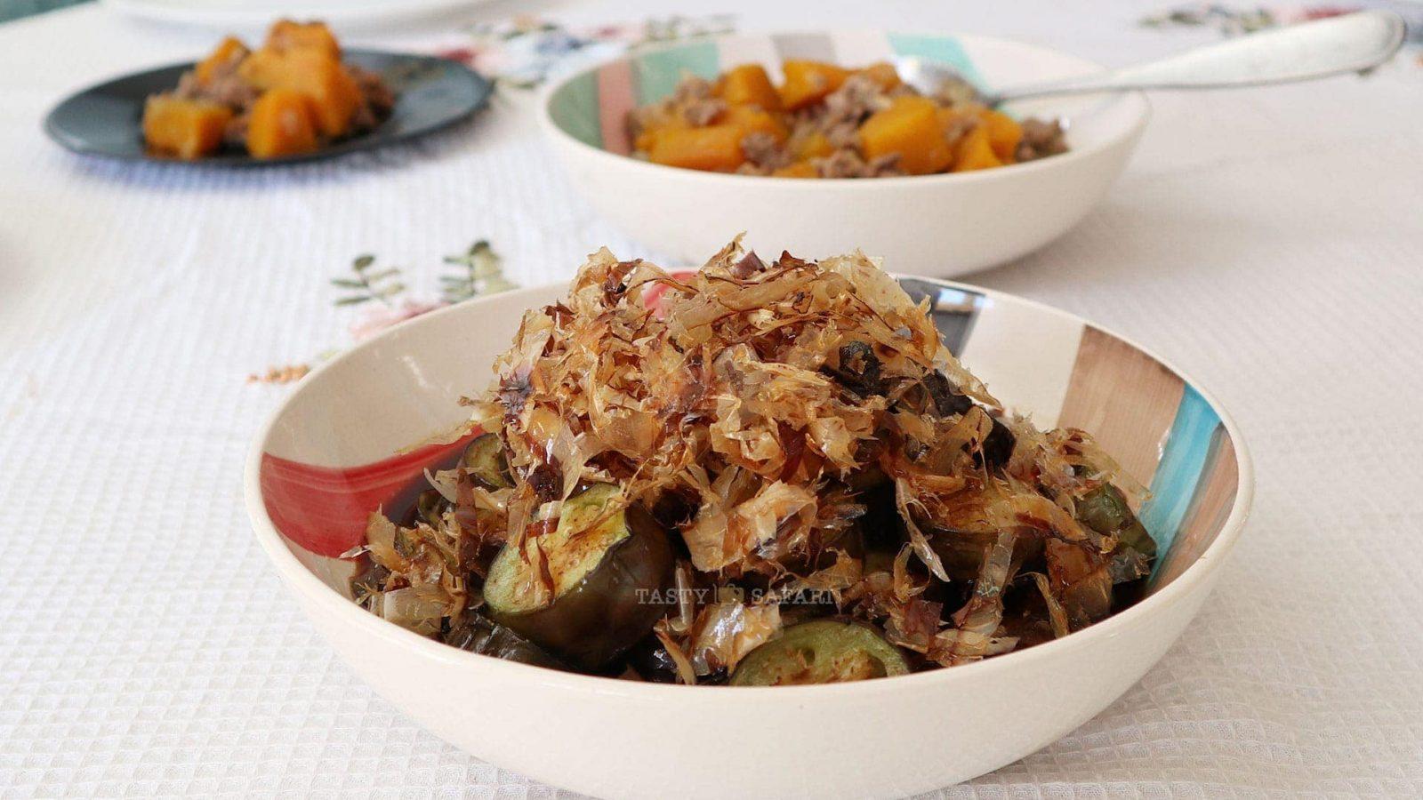 Japanese Fried Eggplants and Crispy Bonito Flakes with Dashi Sauce