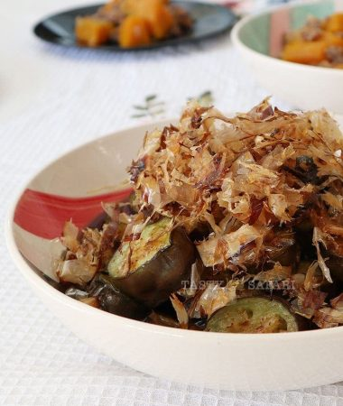 How to Cook Japanese Fried Eggplants and Crispy Bonito Flakes with Dashi Sauce
