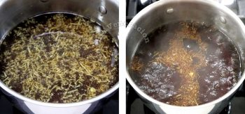 Boiling soy sauce, dashi and mirin with grated ginger