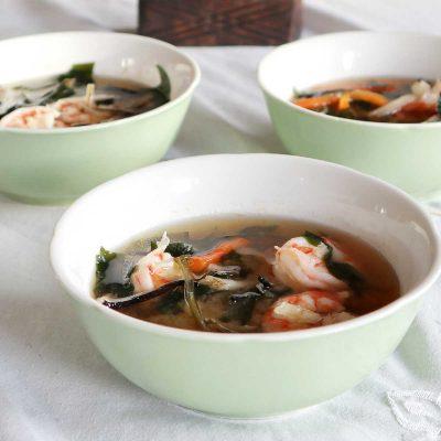 Three bowls of Shrimp and Shiitake Miso Soup