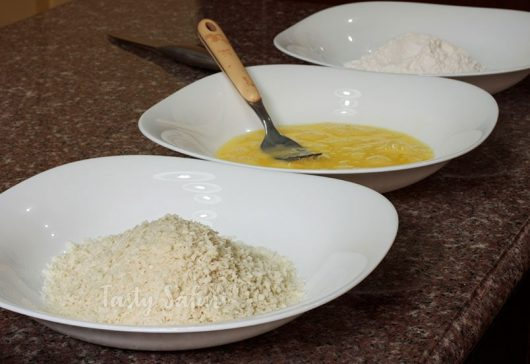 Panko, beaten egg and starch