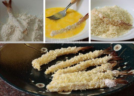 Steps in preparing Ebi Furai (Japanese Panko-coated Deep-fried Shrimp)