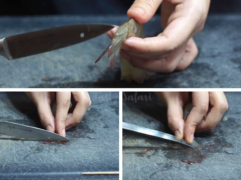 Prepping Shrimps for Tempura and Ebi Furai: How to clean the tails