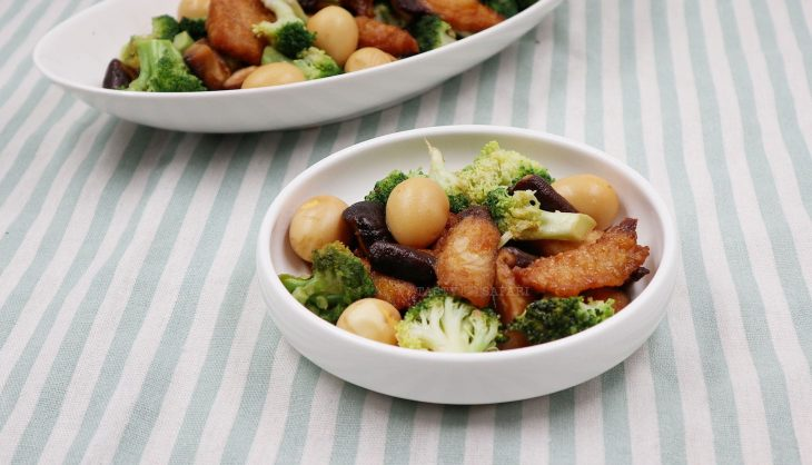 Soy Honey Fish and Shiitake With Broccoli and Quail Eggs