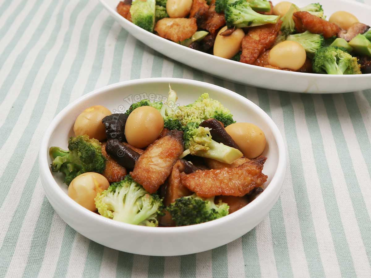 Soy Honey Fish and Shiitake With Broccoli and Quail Eggs in White Shallow Bowl