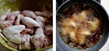 Frying floured chicken wings