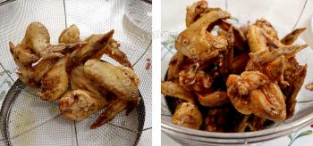 Chicken wings after first and second frying