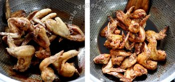 Tossing fried chicken wings in sauce