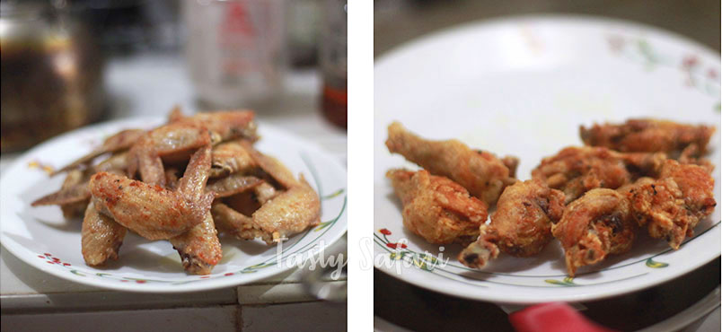 Tebasaki: Japanese Fried Chicken Wings Recipe, Step 4: Fry over high heat