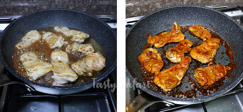 Chicken teriyaki recipe, step 2: Pour sauce over chicken and cook until carmelized