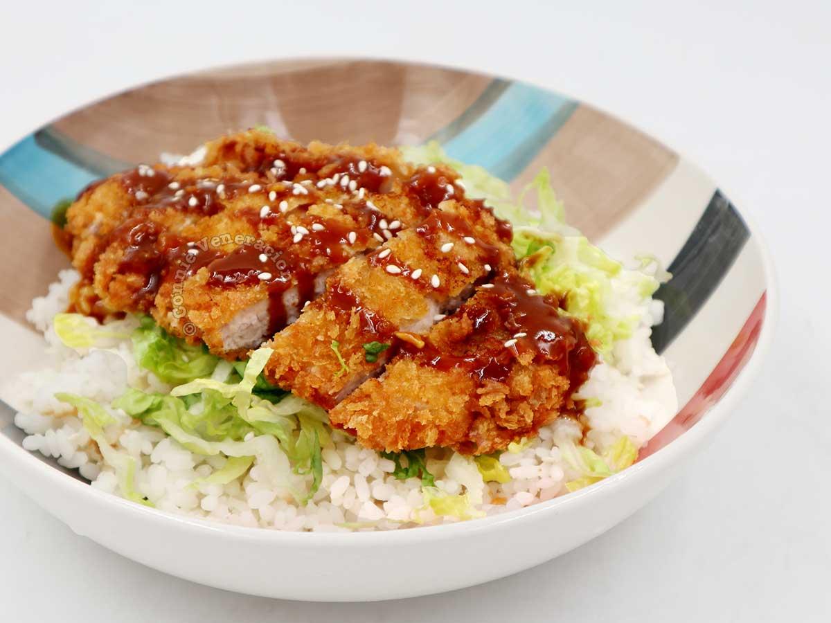 Tonkatsu over rice
