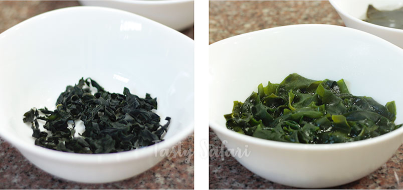 Wakame: dried and rehydrated