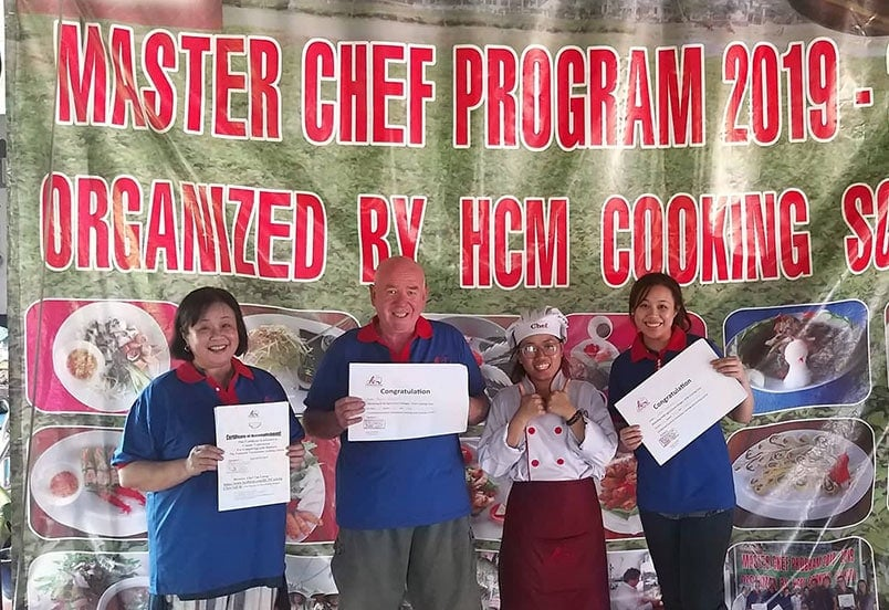 Certificate of completion of cooking class at the HCM Cooking School and Organic Farm