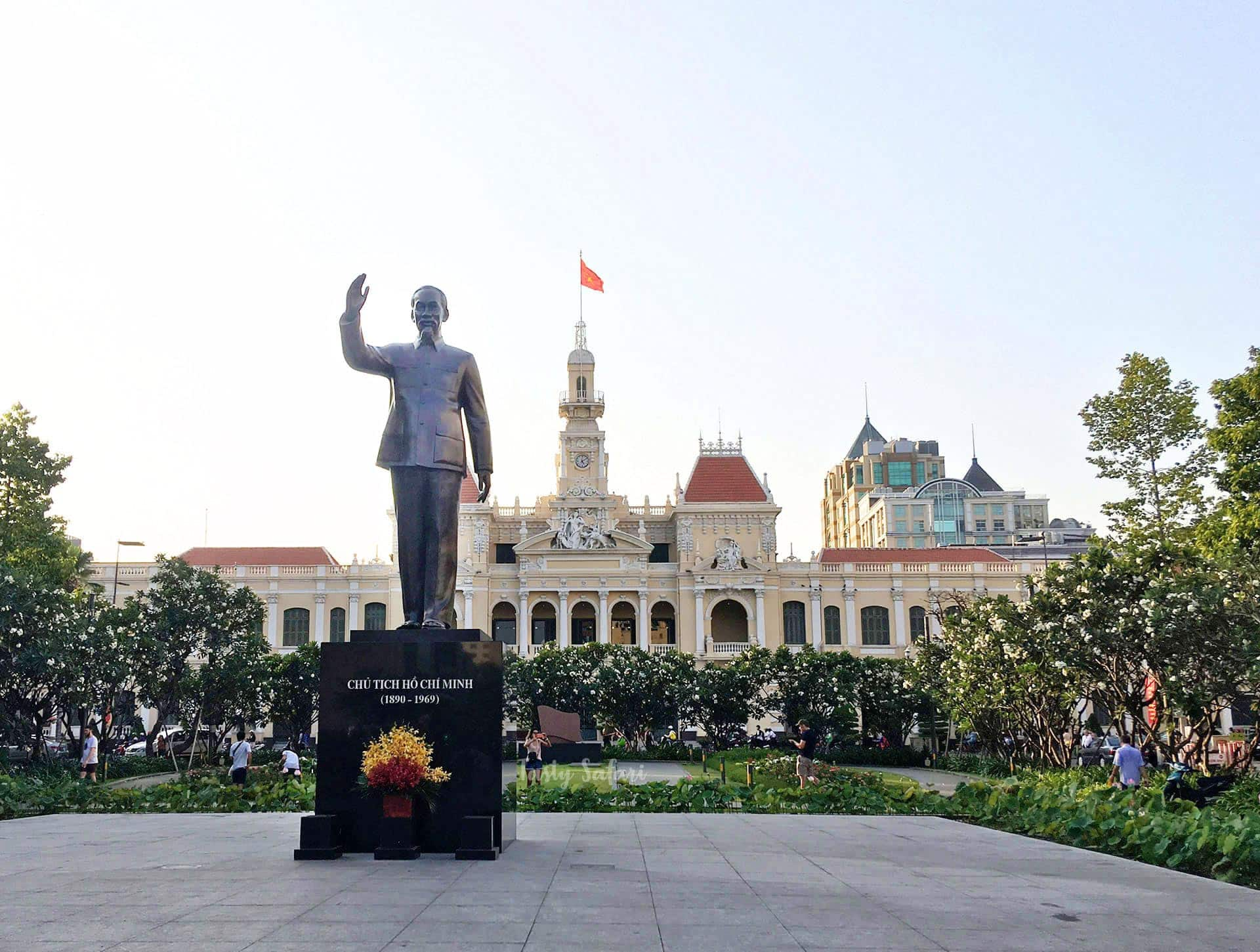 Statue of Ho Chi Minh with City Hall building in background